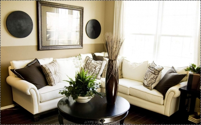 Decorating Ideas For Small Living Room With White Sofa And Cushions Also Round Black Wooden Table 78