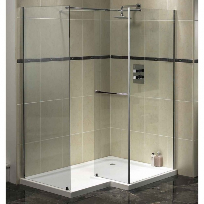Small Bathroom With Bath And Shower Restricted Small Bathroom Corner Shower Area Glass Walls And Black Flooring 4388