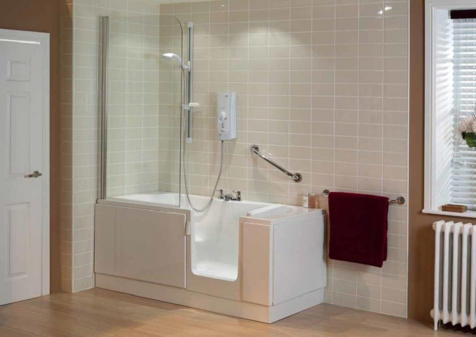 Small Bathroom With Shower And Tub Also White Door Light Wood Flooring 3772