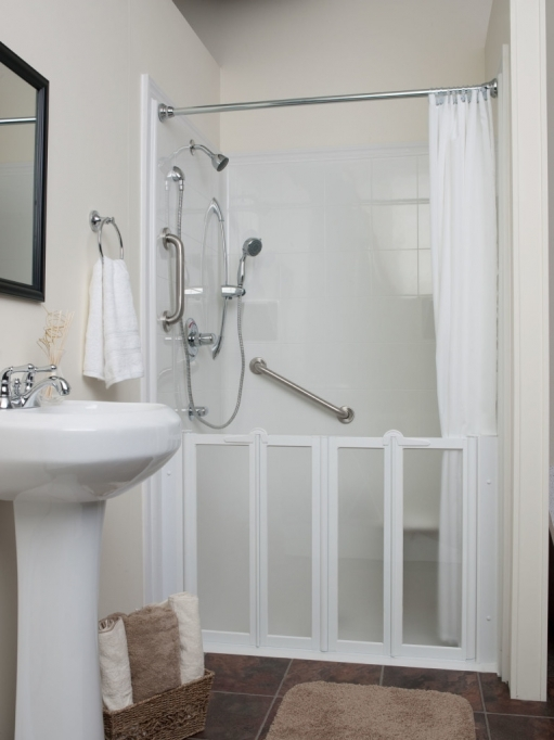 Small Bathroom With Shower And Tub By Silver Shower On The White Wall Completed 0789