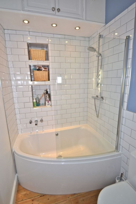 Small Bathroom With Shower And Tub Corner Ideas With Simple White Design 0735