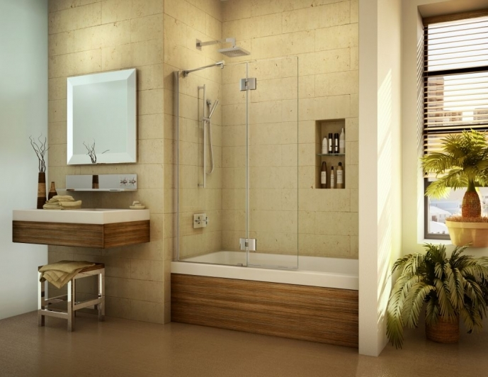 Small Bathroom With Shower And Tub Frameless Bath Screen And Tub Shield Door 0681