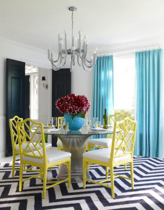Small Dining Room Decorating Ideas Classic Design With Glass Round Dining Table And Vintage Yellow Chairs Pictures 06