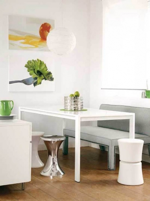 Small Dining Room Decorating Ideas Contemporary Design With White Ceiling Linen Ball Lamp Simple Decoration Idea Picture 26