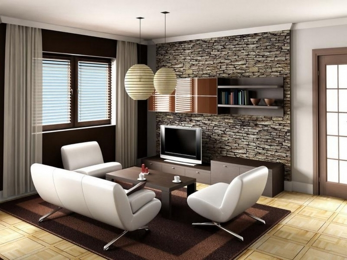 Small Family Room Decorating Ideas Pictures With Contemporary Ball Ceiling Light Decor And Wall Stone Decor 69